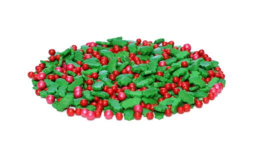 Holly Leaves And Berries Sprinkles Bulk